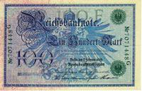 1908, Reichsbanknoten 1876-14 , 100 Mark (тип 2)